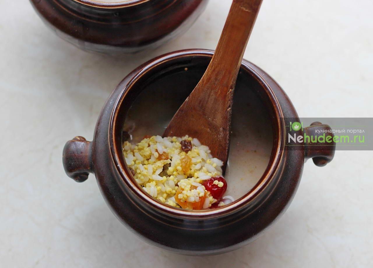 Как сделать рисовую кашу в горшочке в духовке8