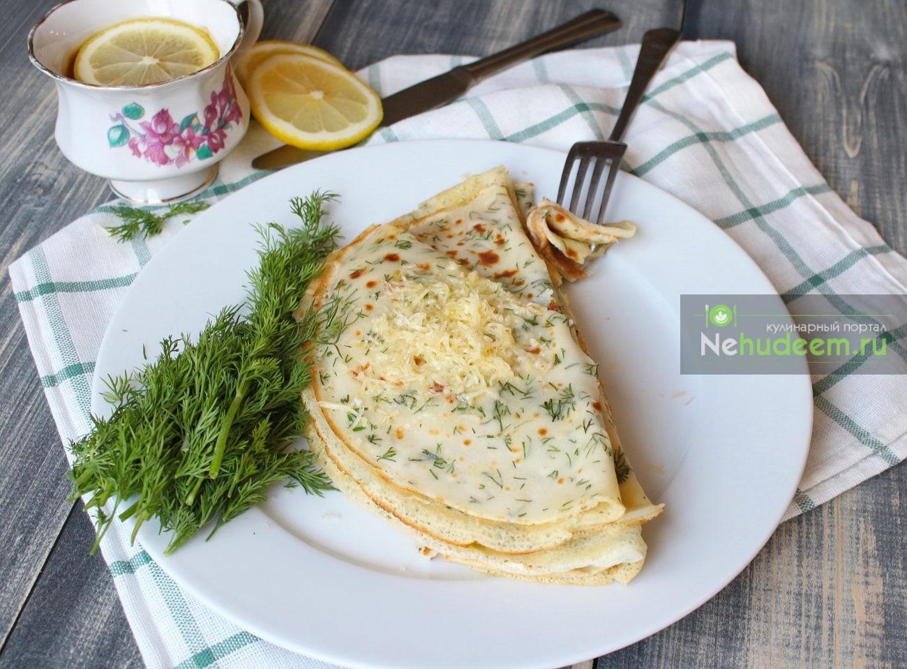 Блинчики с зеленью и сыром рецепт пошагово в