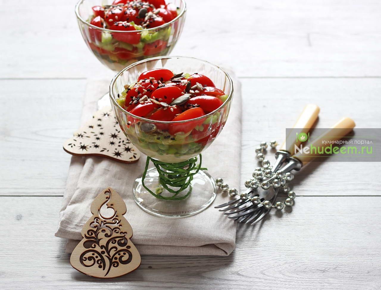 Овощной салат с хумусом