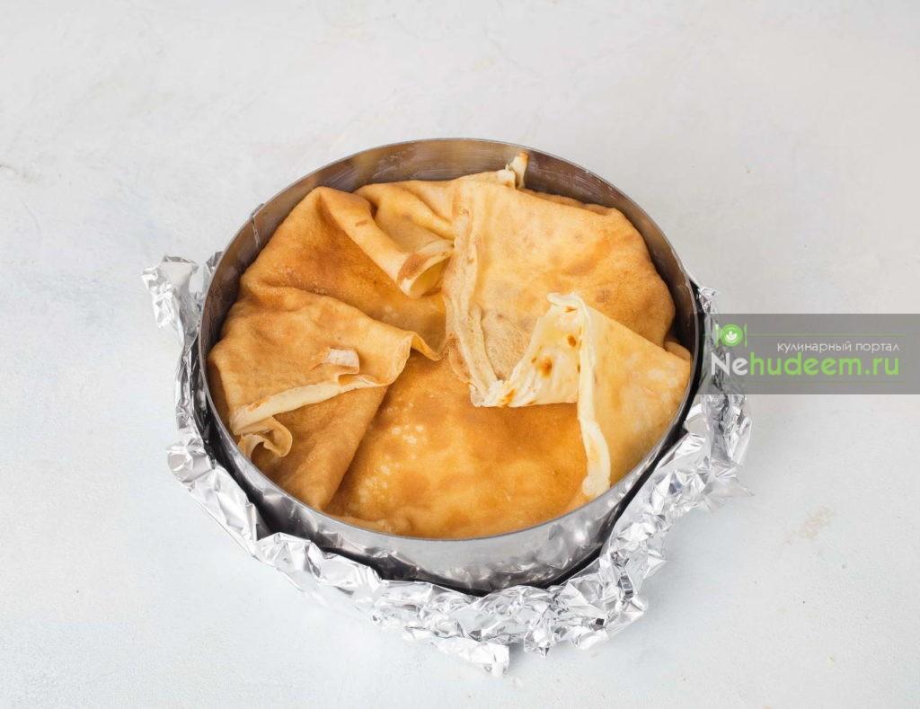 Блинный пирог с творогом - рецепт пошаговый с фото
