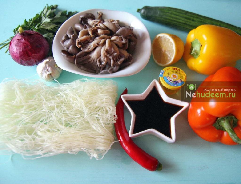 Фунчоза с вешенками - рецепт пошаговый с фото