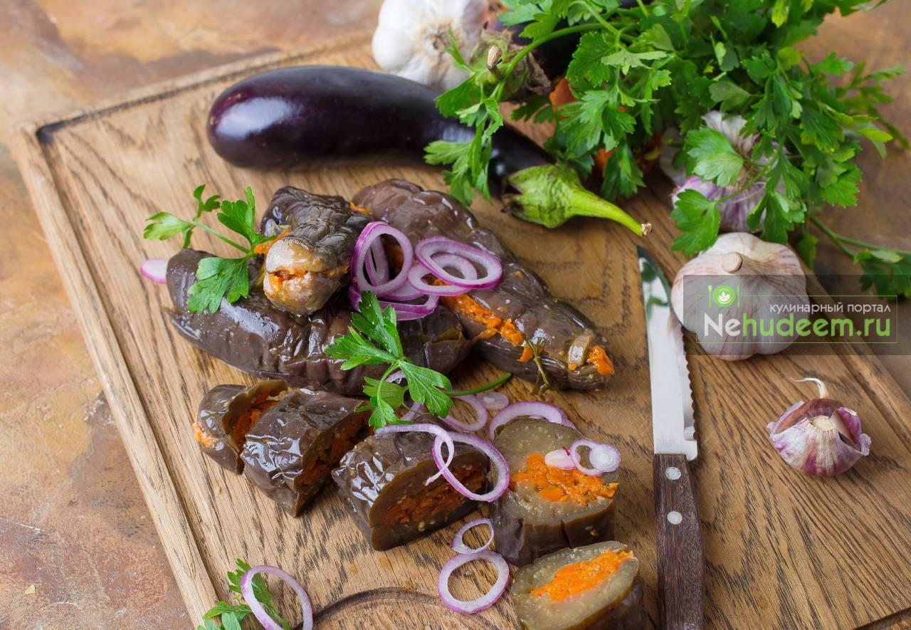 Солёные баклажаны с чесноком и морковью