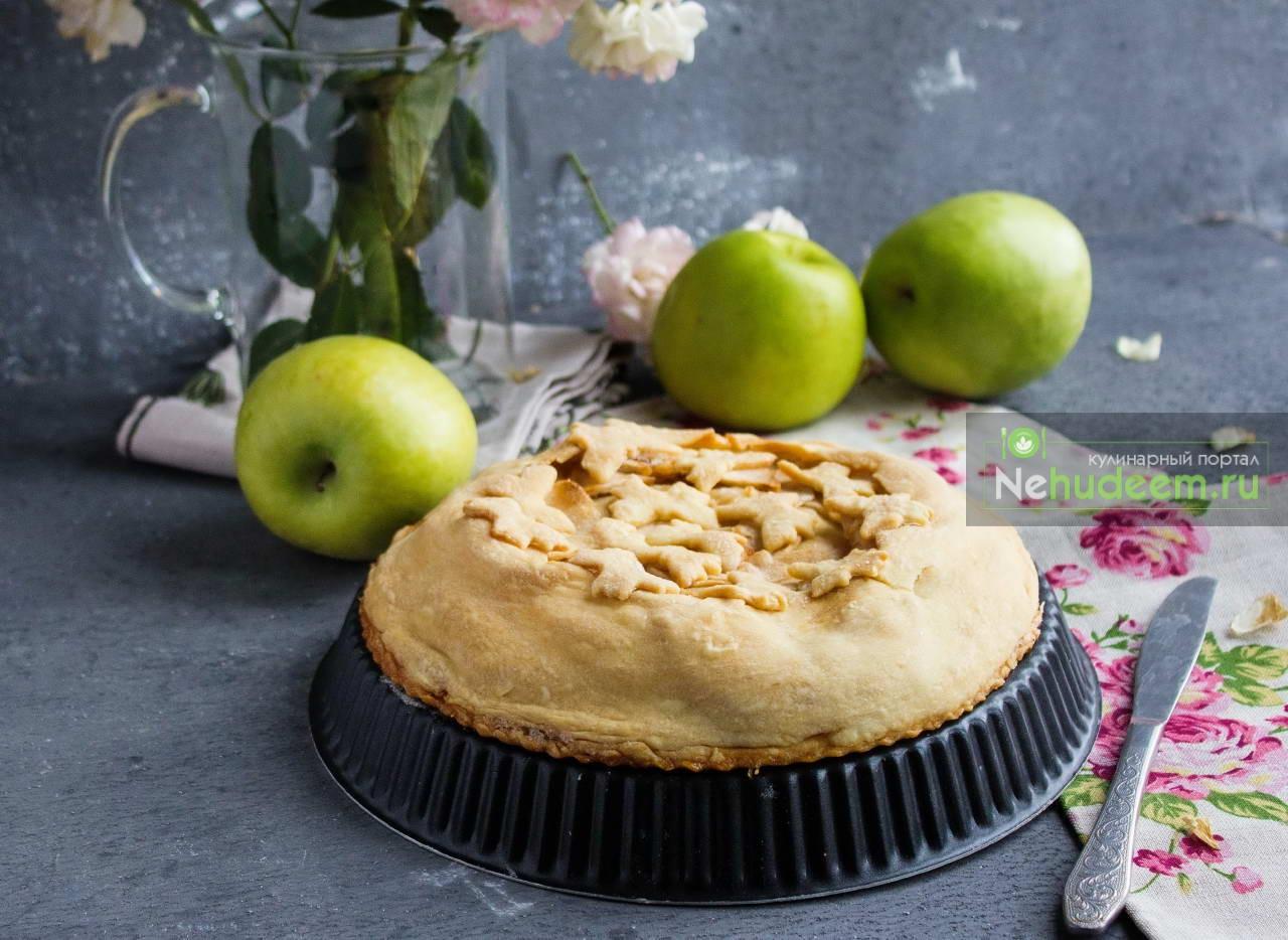 Быстрый яблочный пирог из ложного слоёного теста