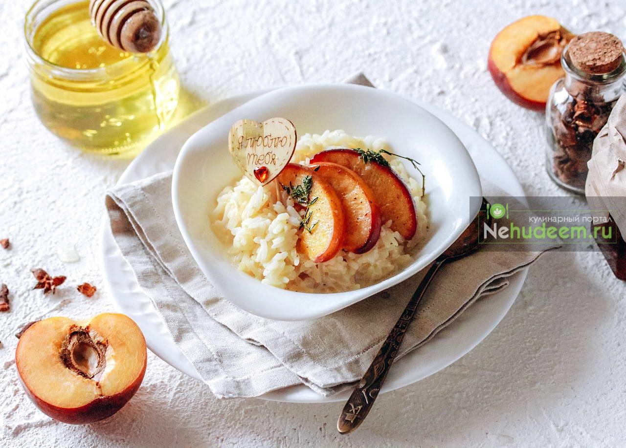 Рисовая каша с персиком и тимьяном