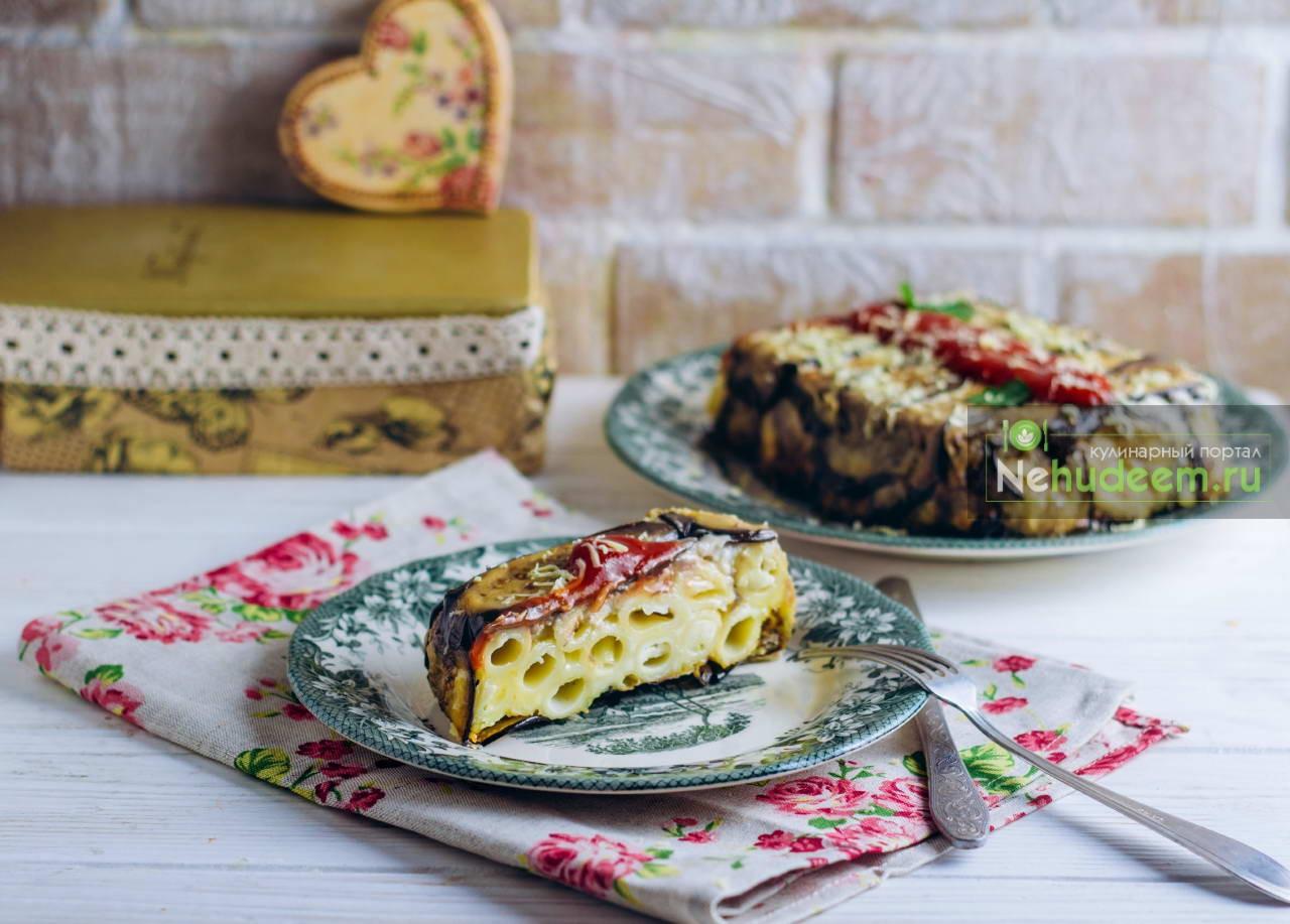 Тимбалло с пастой и сыром в баклажанах