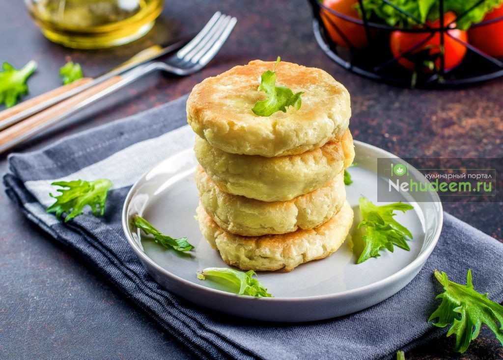 Mashed Potato Cheese Pancakes on a stone background. Copy Space