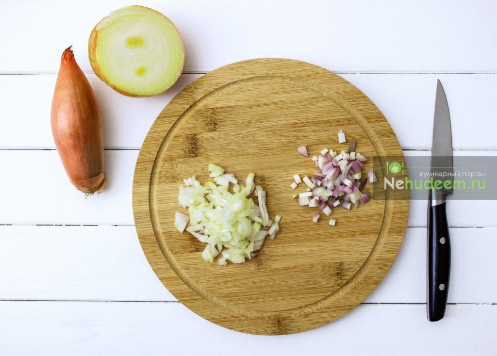 Step by step onion shallot chopped cutting board.