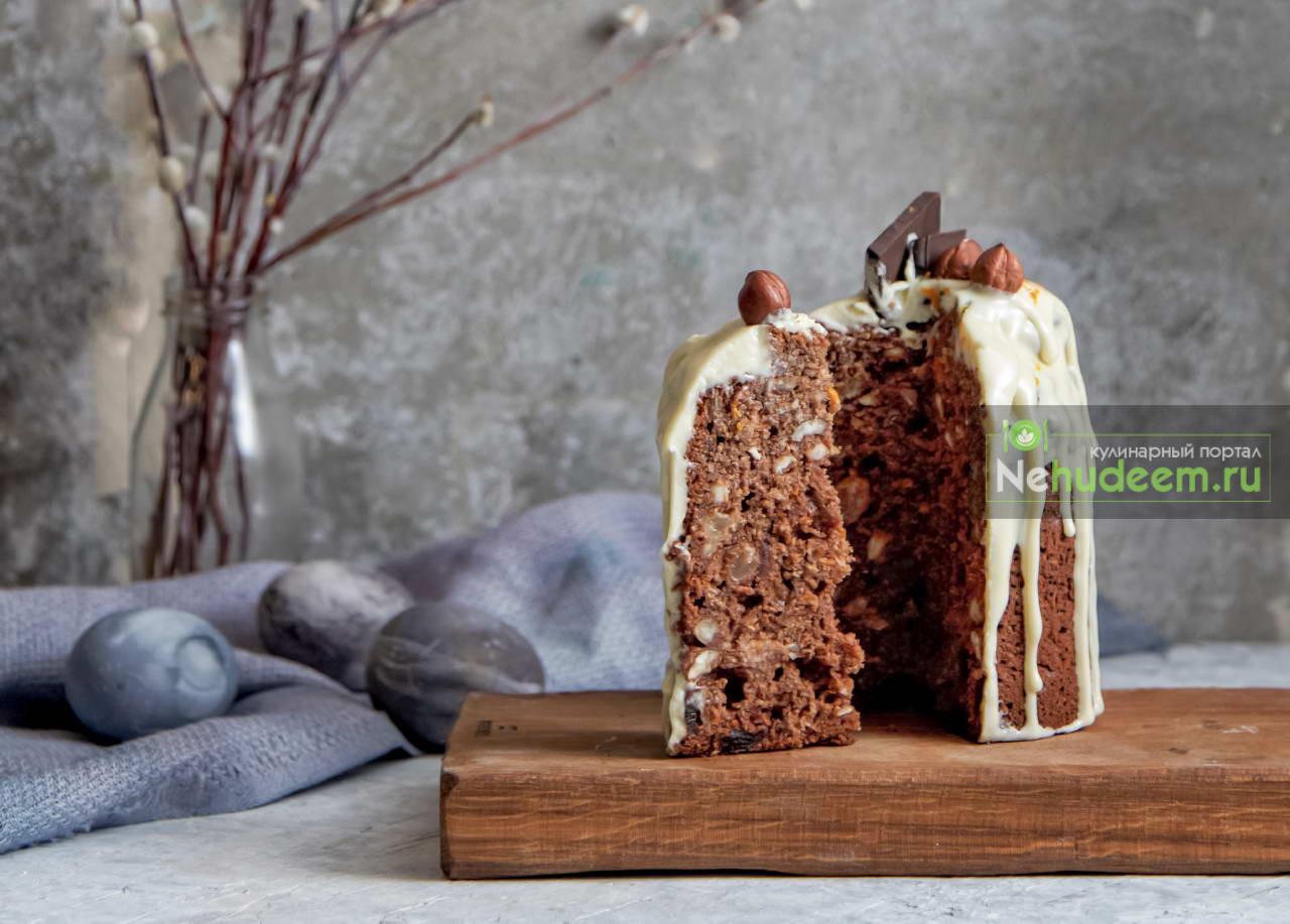 Бездрожжевой шоколадно-творожный кулич с глазурью на сухом молоке