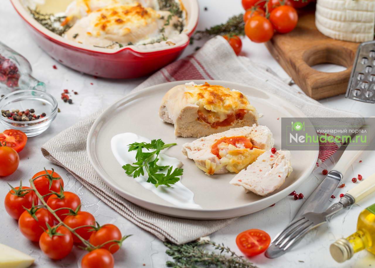 Лодочки из курицы с помидорами и сыром