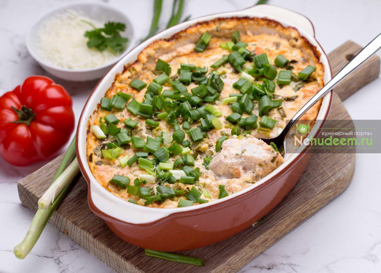 Рыба с овощами в сметанном соусе