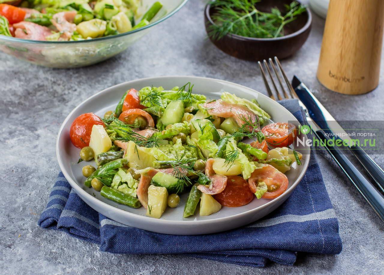 Салат из молодого картофеля и гравлакса