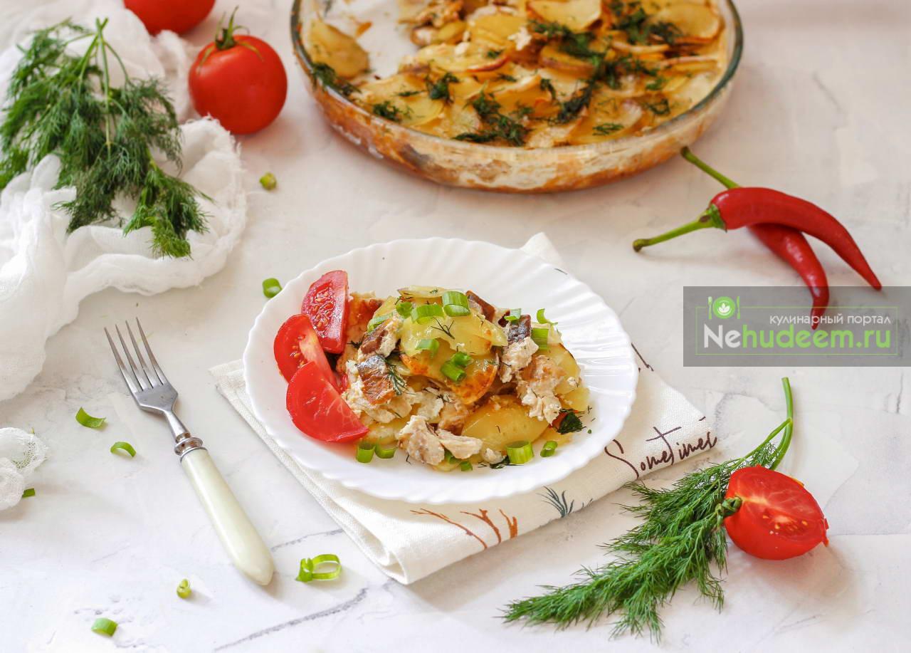 Картофельная запеканка с сельдью Калалаатикко