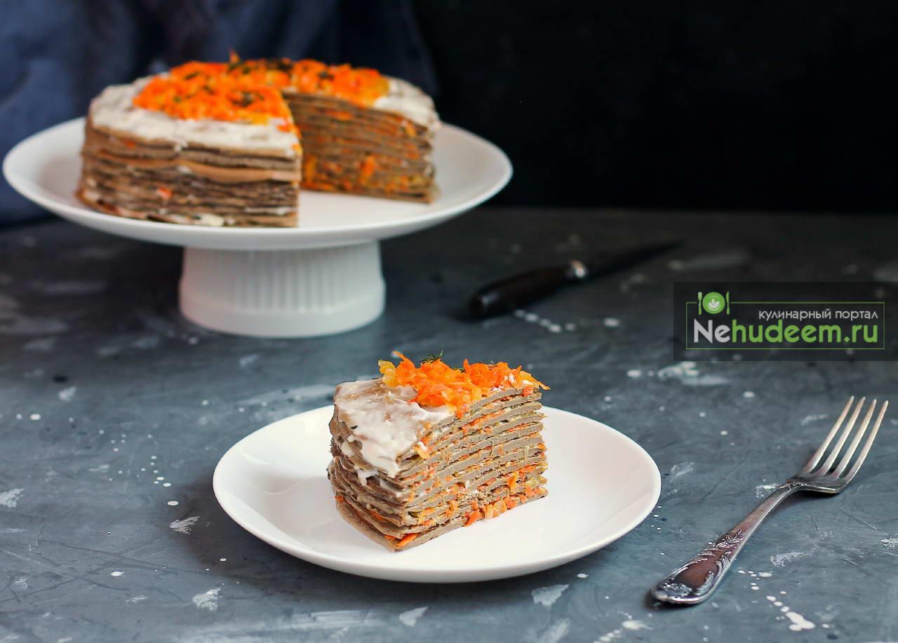 Печёночный торт с морковью