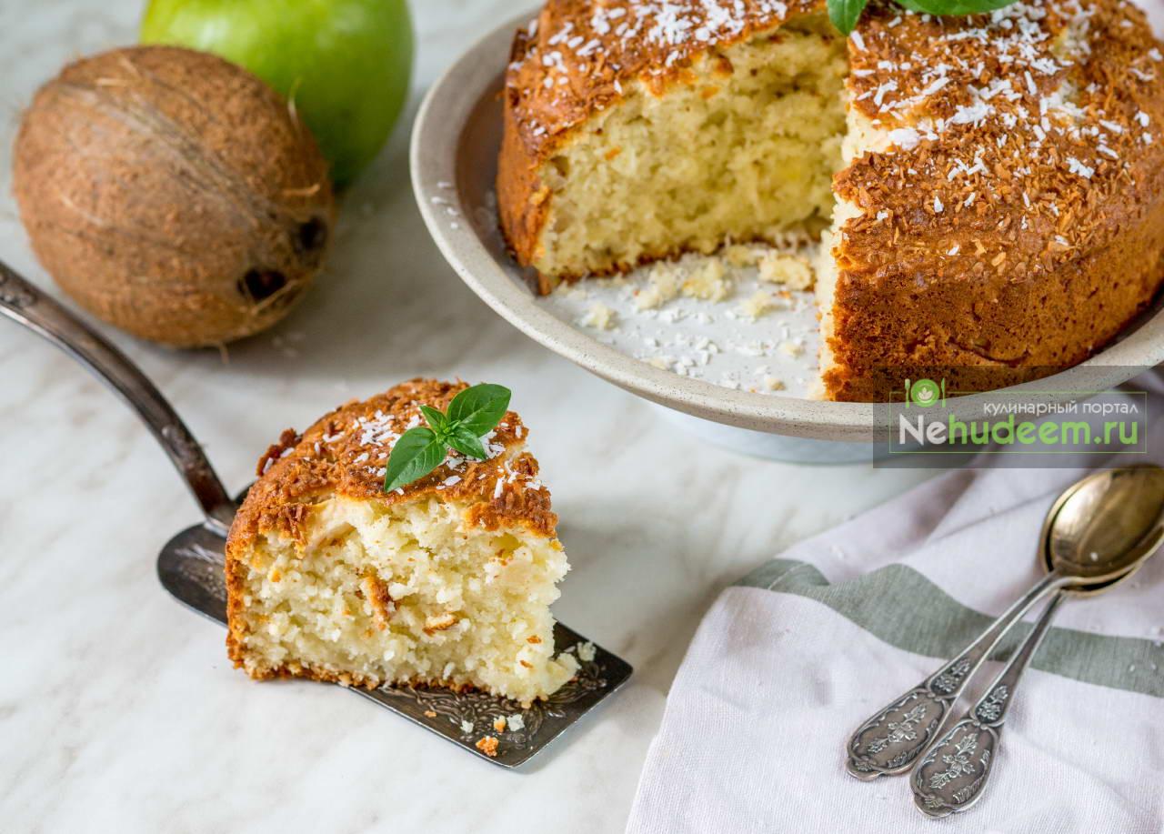 Яблочный кекс с кокосовой стружкой