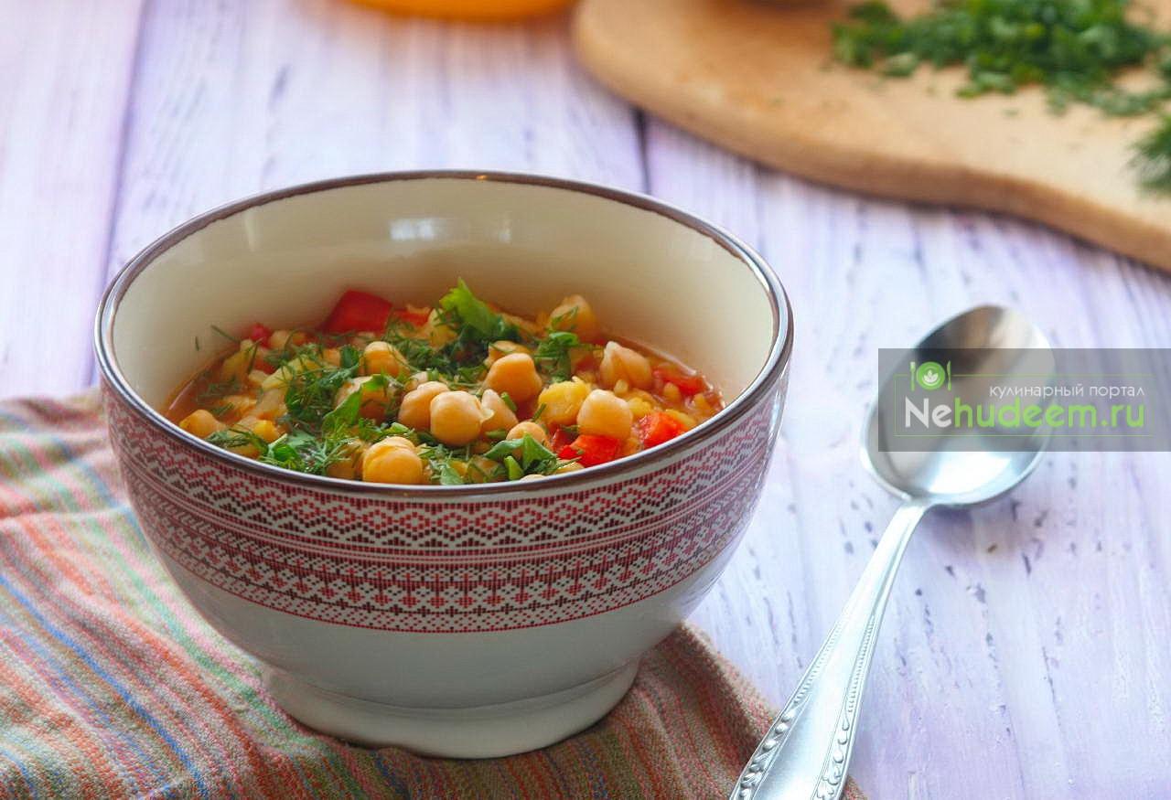Марокканский суп с нутом и рисом