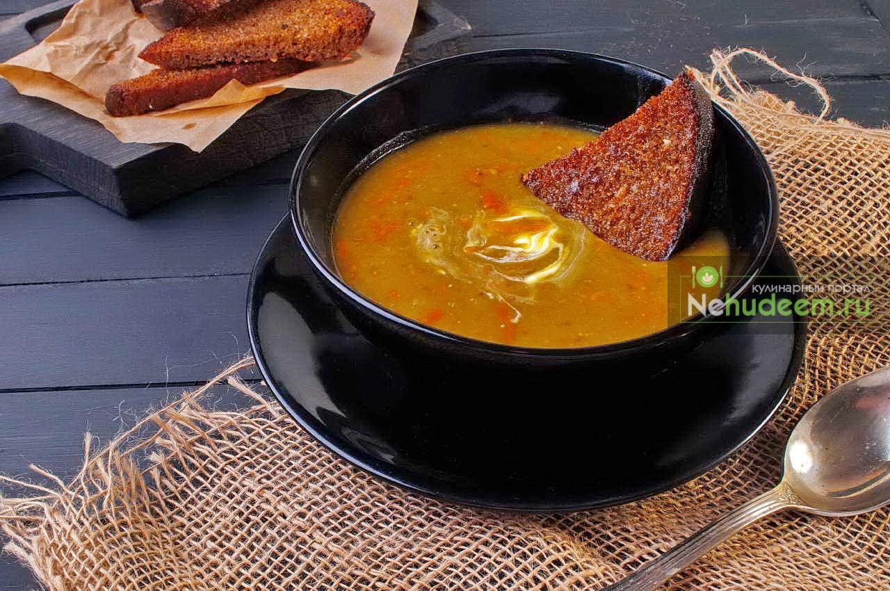 Тыквенный суп с чечевицей и нутом