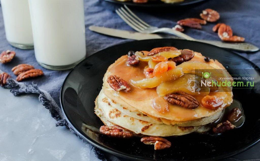 Ванильные блины с карамельным соусом и яблоками, Пошаговые рецепты с фото