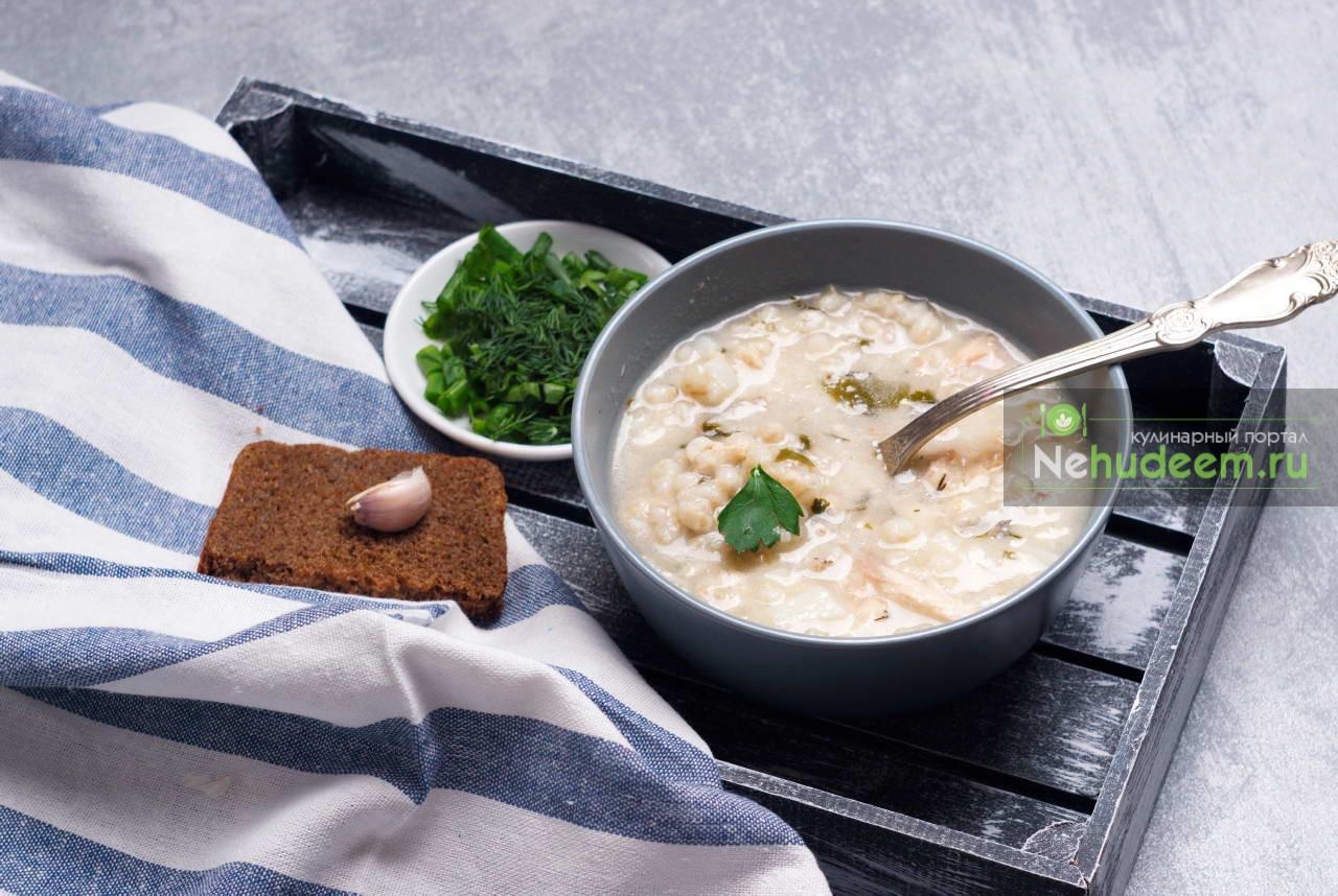 Суп с сёмгой и перловкой