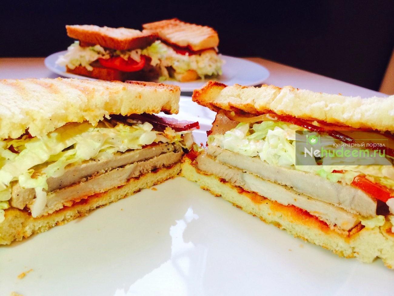 Сэндвич с мясом и беконом
