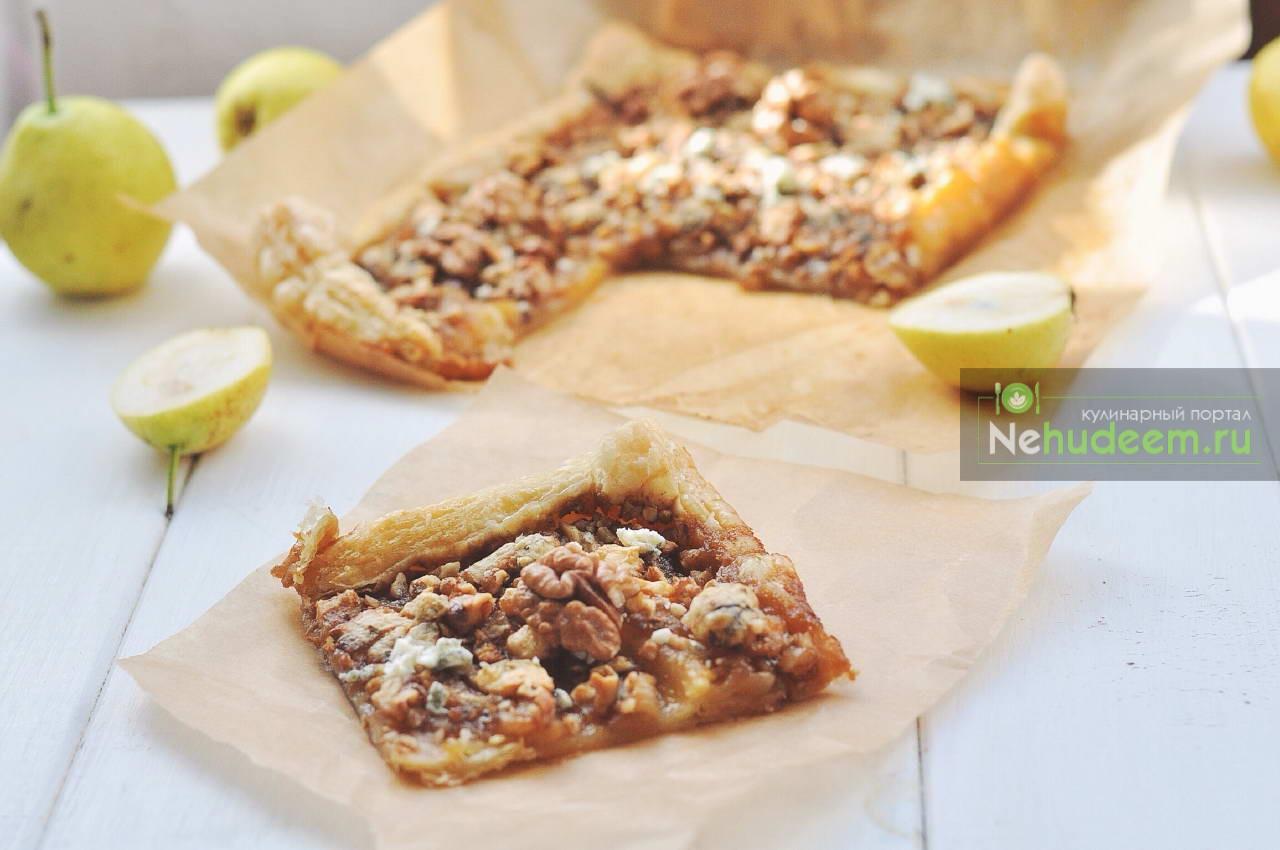 Пирог с грушей, грецким орехом и сыром Дор Блю